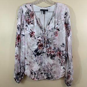 WHBM Size 12 Pink Silk Floral Top - Retails $110